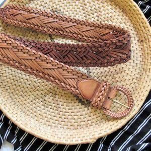 Genuine leather braided belt by One World sz L